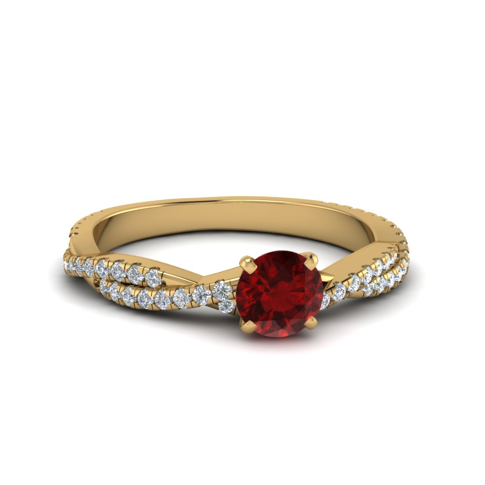 twisted ruby engagement ring in FD8233RORGRD NL YG
