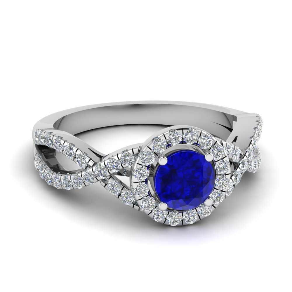 twisted sapphire halo engagement ring in FDENR9320RORGBS NL WG
