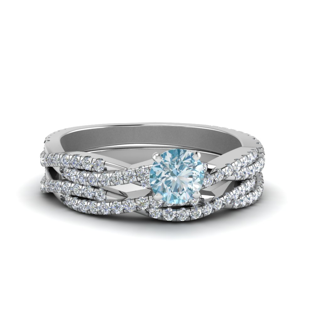 twisted aquamarine bridal set in FD8233ROGAQ NL WG