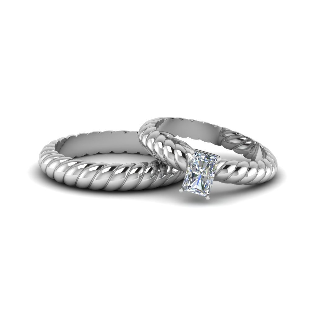 Twisted Radiant Diamond Wedding Set
