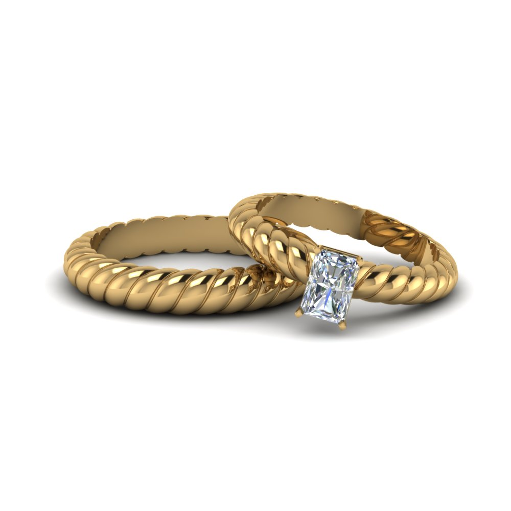 twisted style radiant cut diamond matching wedding band set in 14K yellow gold FD8182B NL YG
