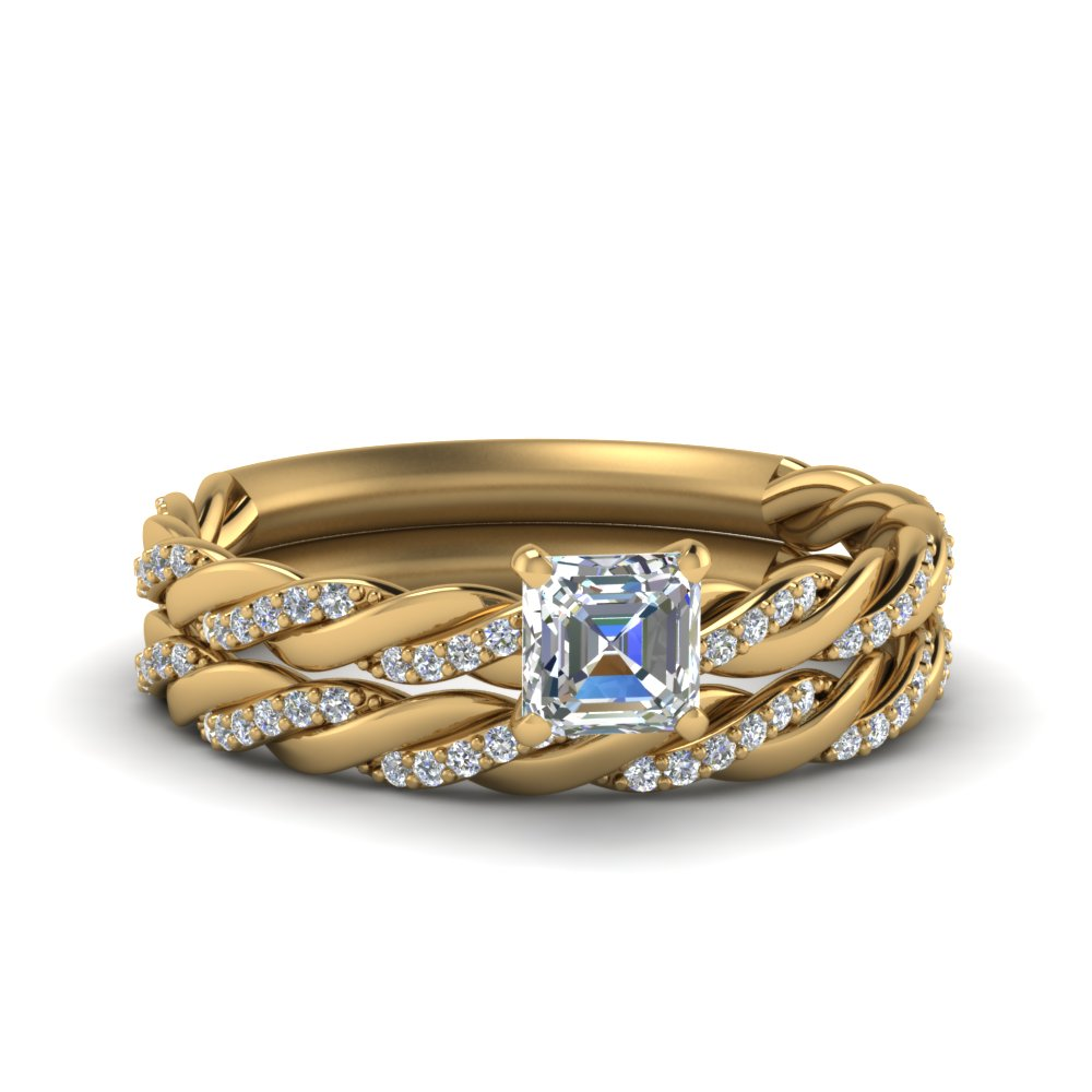Twisted Vine Asscher Diamond Bridal Ring Set In 14K Yellow Gold
