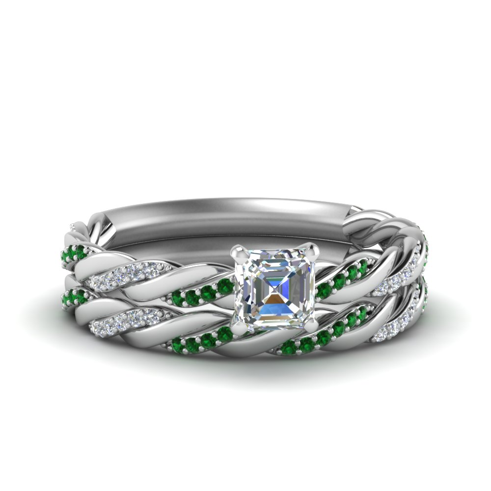 Twisted Vine Emerald Bridal Ring Set