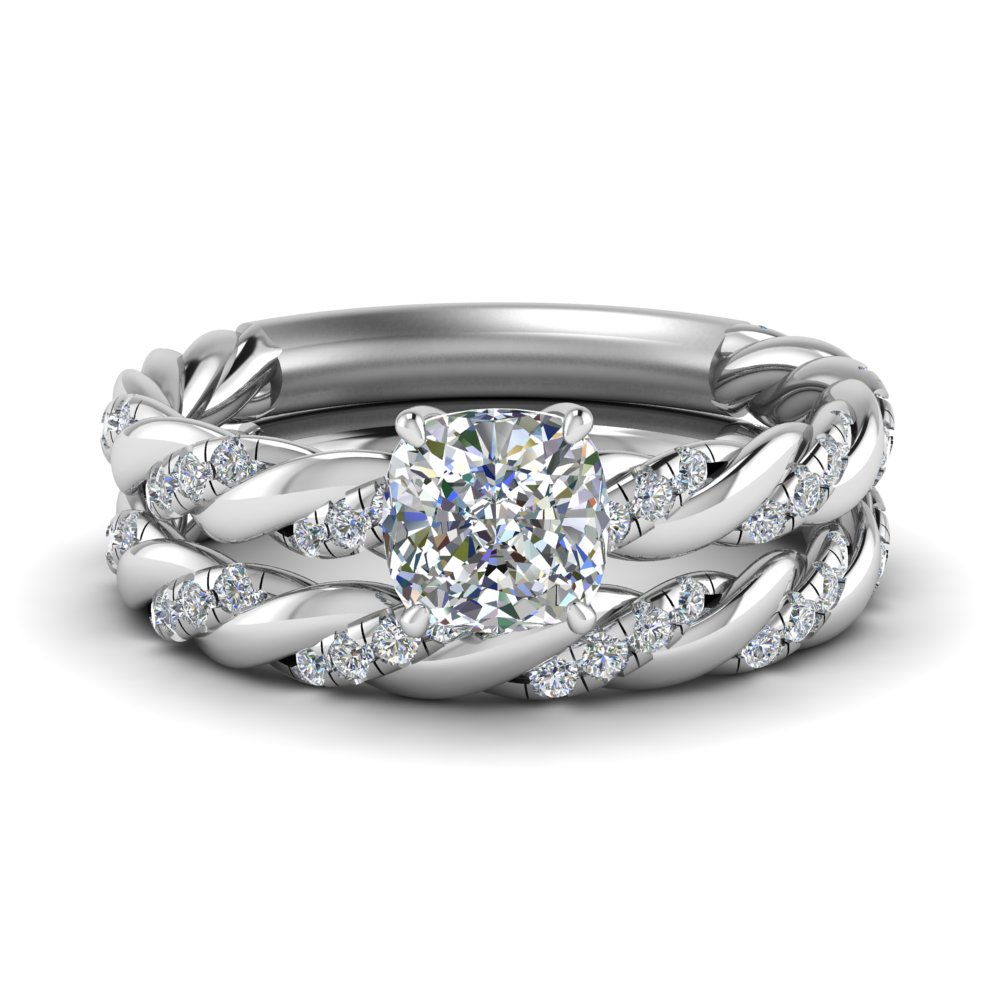 twisted vine cushion diamond bridal ring set in FD9127CU NL WG