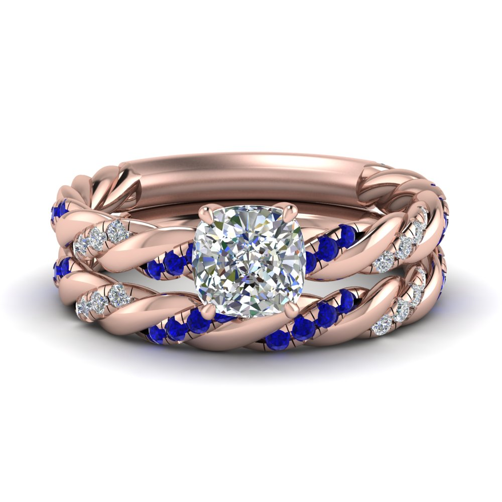 twisted vine cushion diamond bridal ring set with sapphire in FD9127CUGSABL NL RG