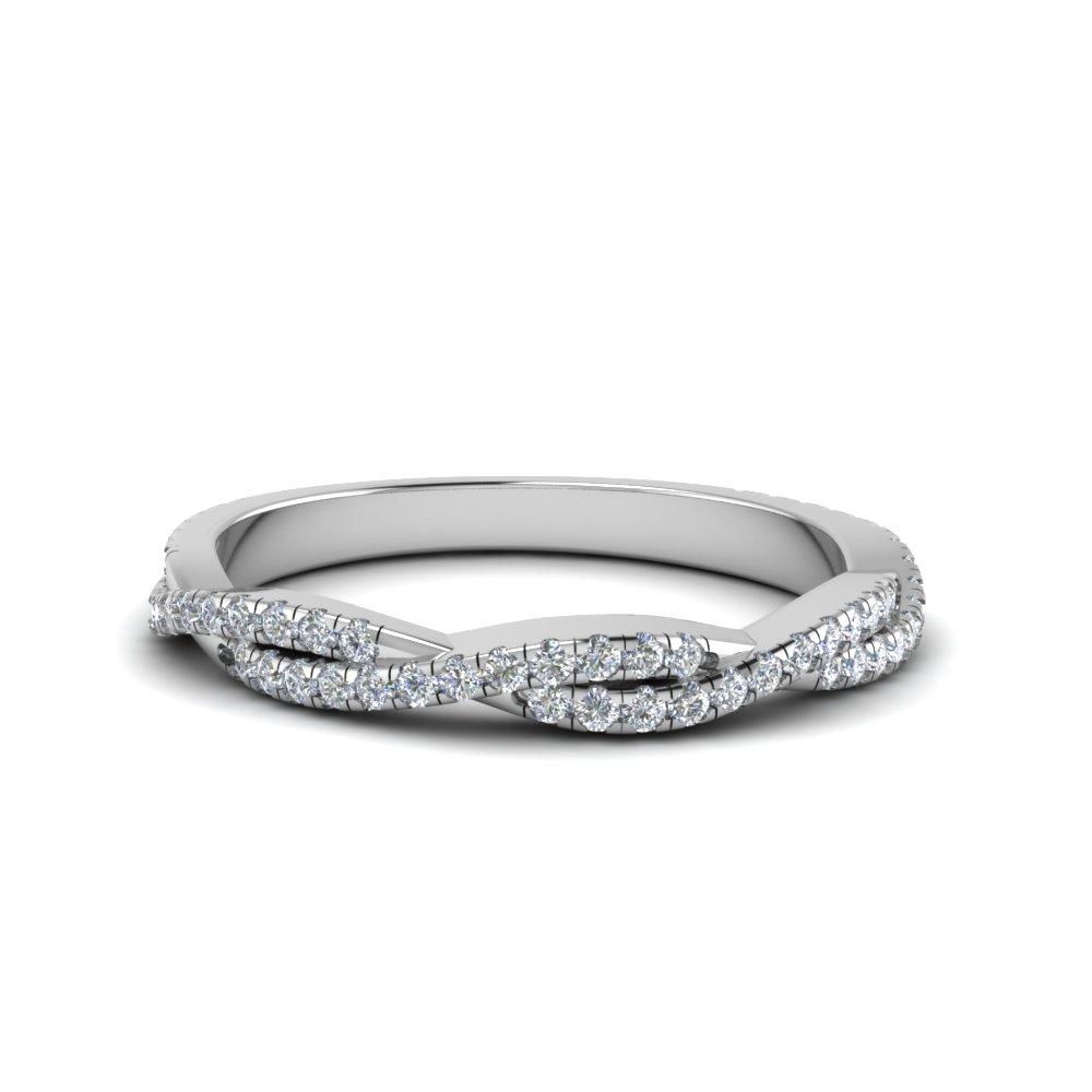 twisted vine delicate diamond wedding band in 14K white gold FD8233B NL WG