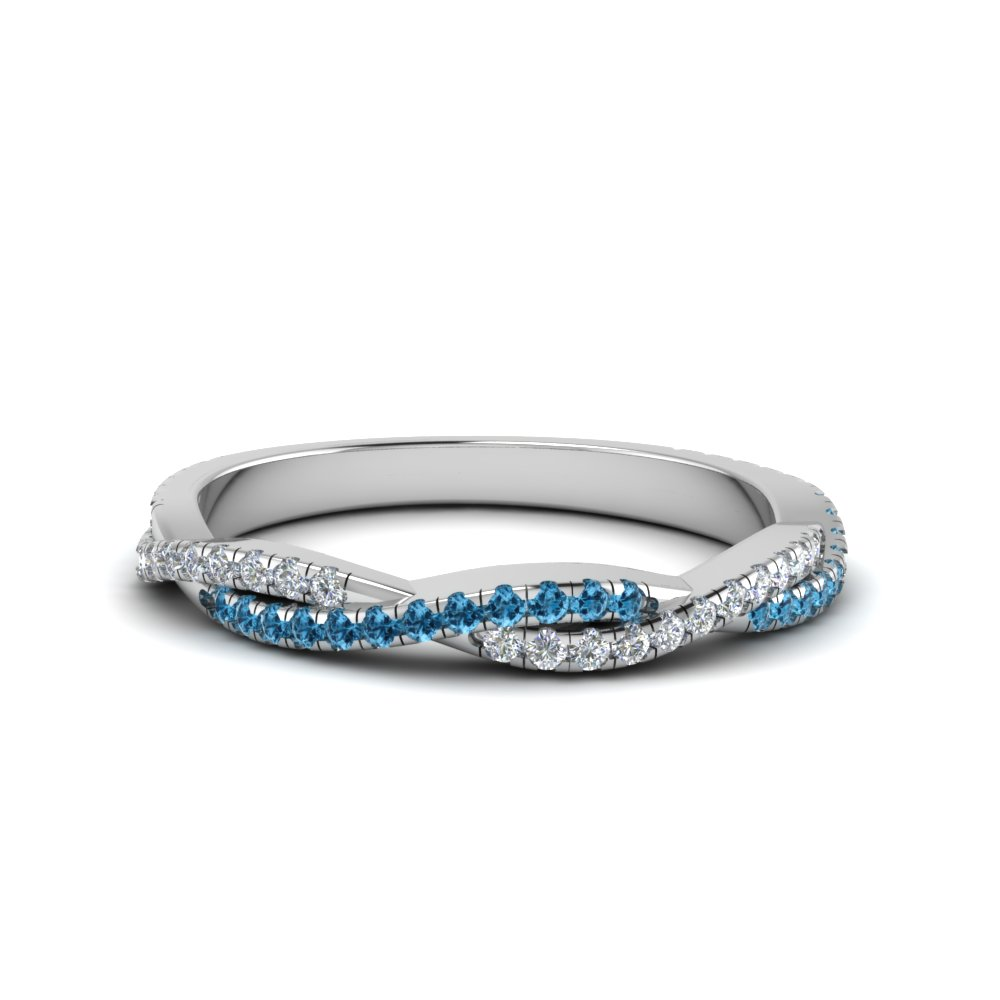 Twisted Vine Delicate Diamond Band With Ice Blue Topaz In 14K White Gold