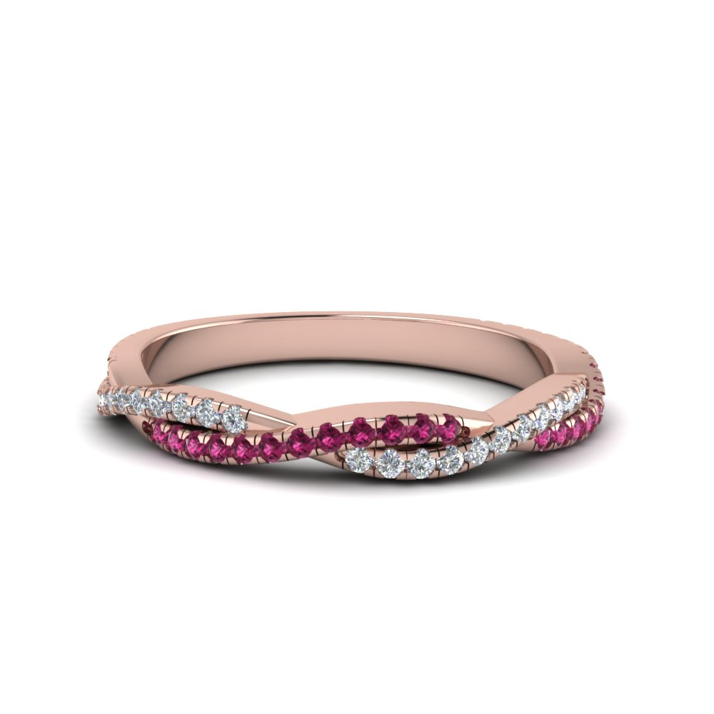twisted vine delicate diamond wedding band with pink sapphire in 14K rose gold FD8233BGSADRPI NL RG