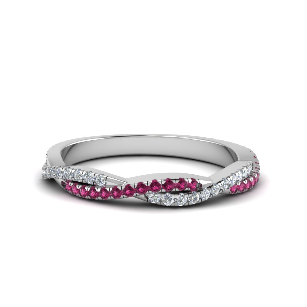 twisted vine delicate diamond wedding band with pink sapphire in 14K white gold FD8233BGSADRPI NL WG