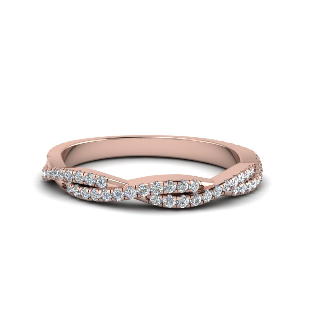 twisted vine diamond band in 14K rose gold FD8233B NL RG