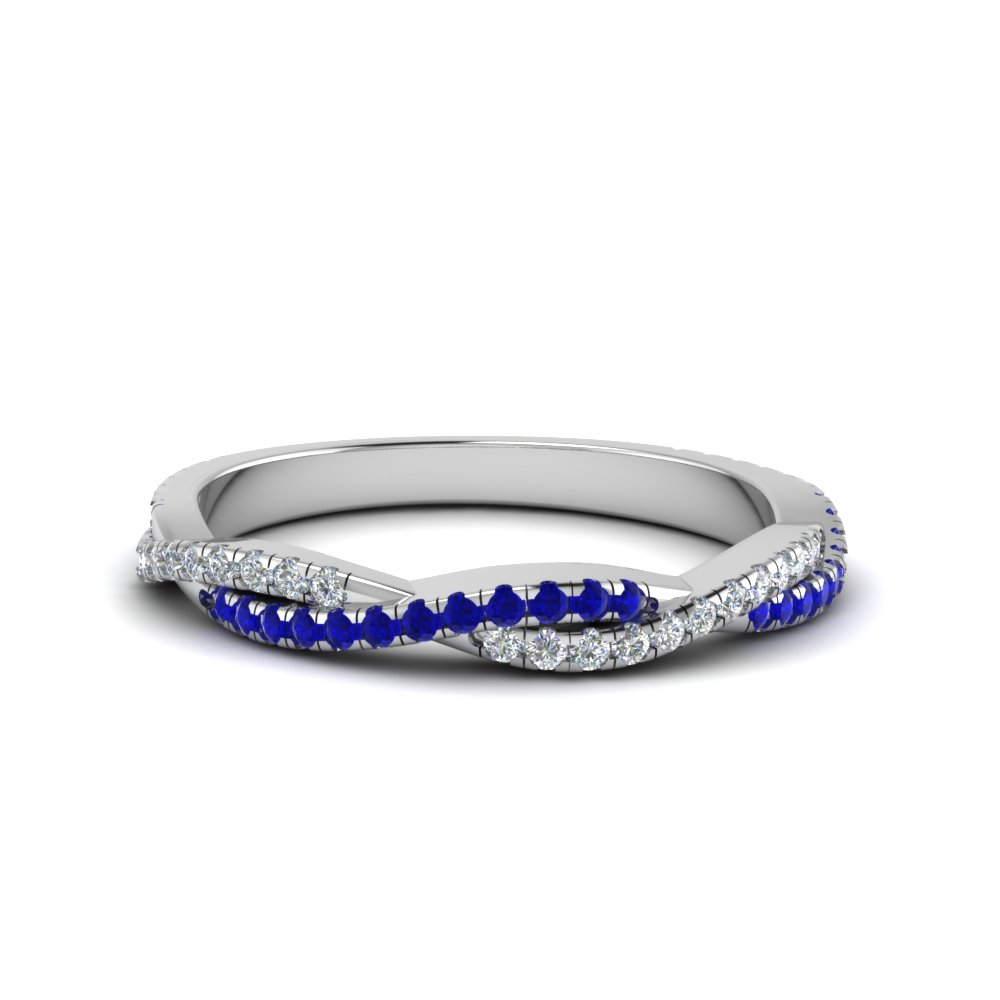 twisted vine diamond wedding band with sapphire in FD8233BGSABL NL WG