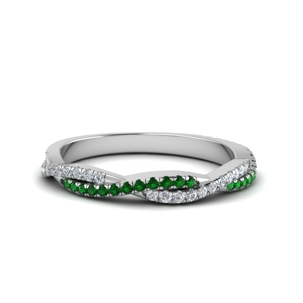 twisted vine diamond wedding band with emerald in FD8233BGEMGR NL WG
