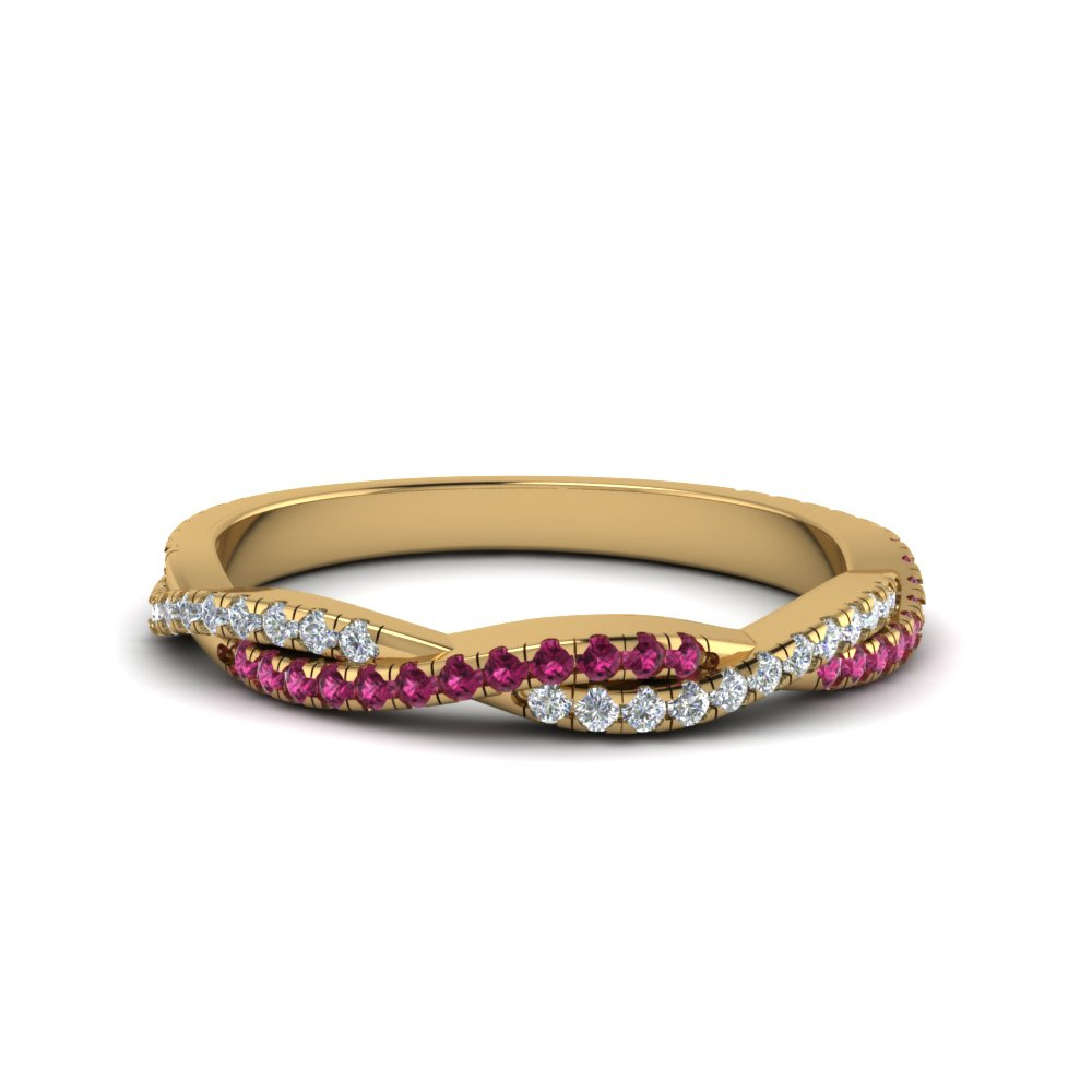 twisted vine diamond wedding band with pink sapphire in FD8233BGSADRPI NL YG