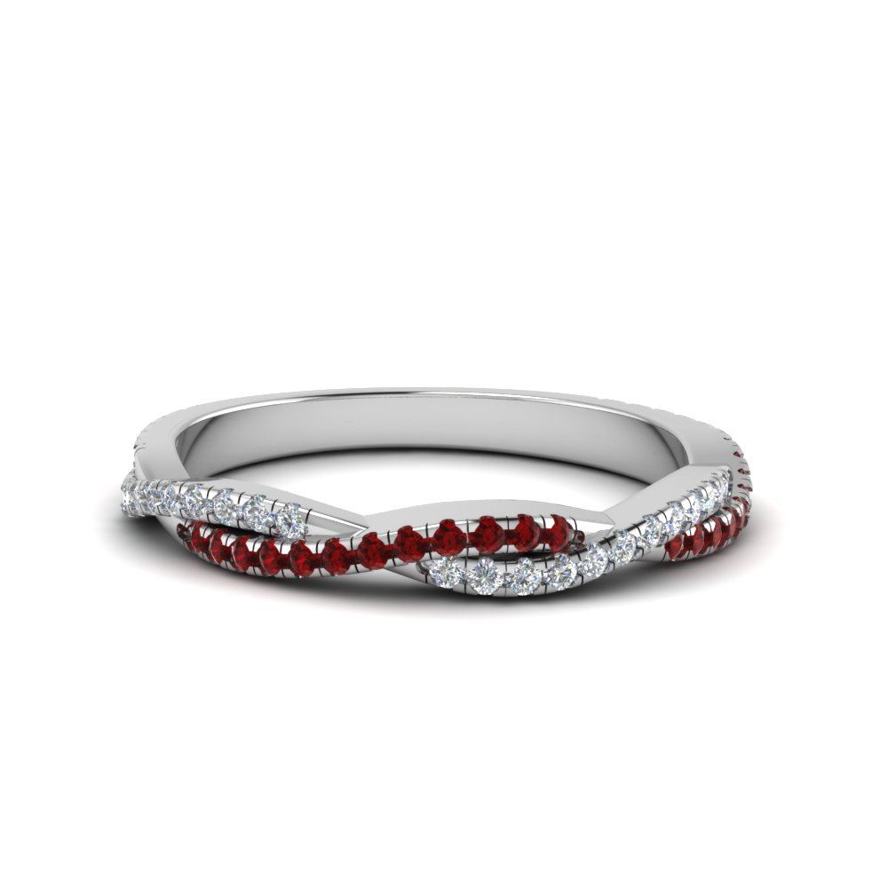 twisted vine diamond wedding band with ruby in FD8233BGRUDR NL WG