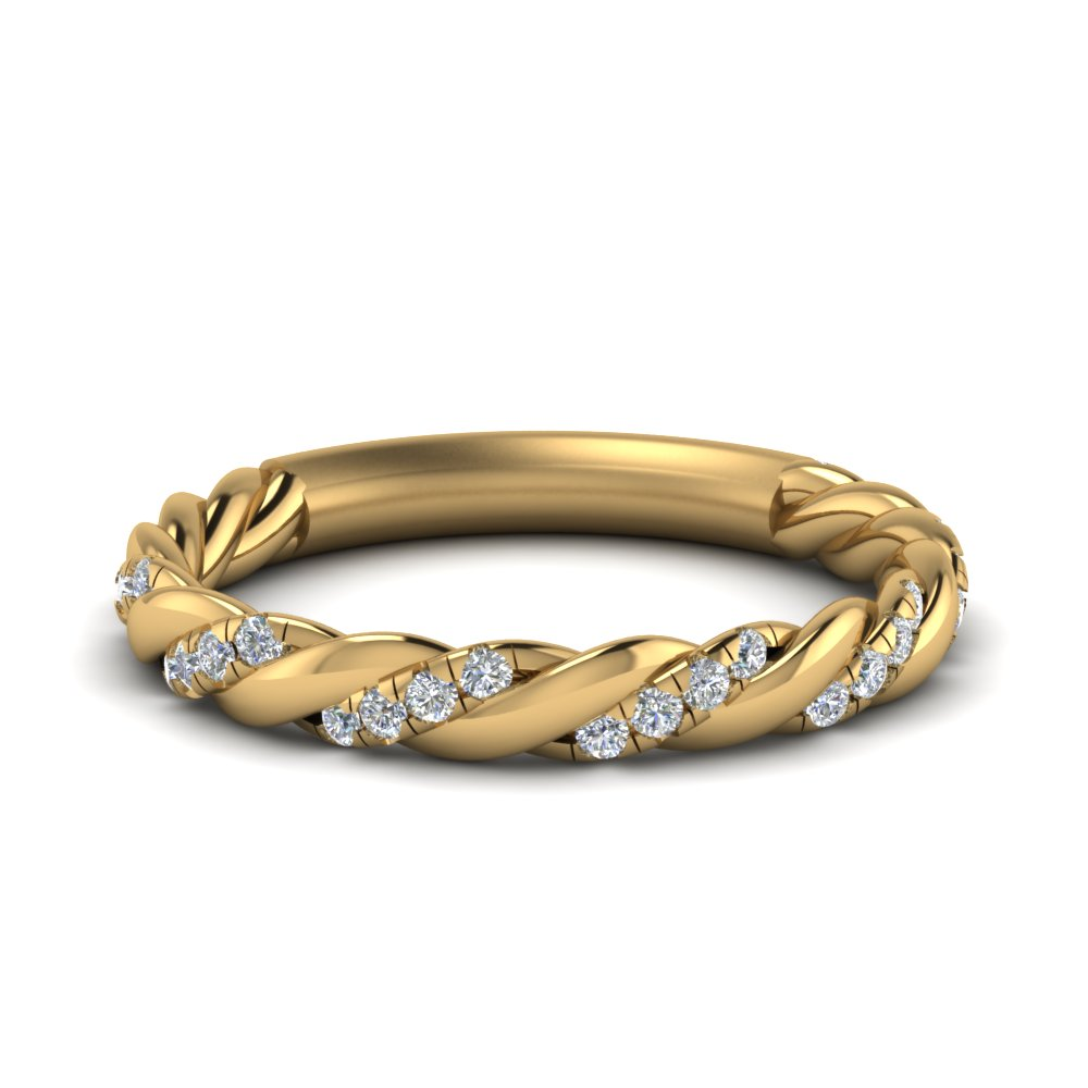 twisted vine diamond wedding band in FD9127B NL YG