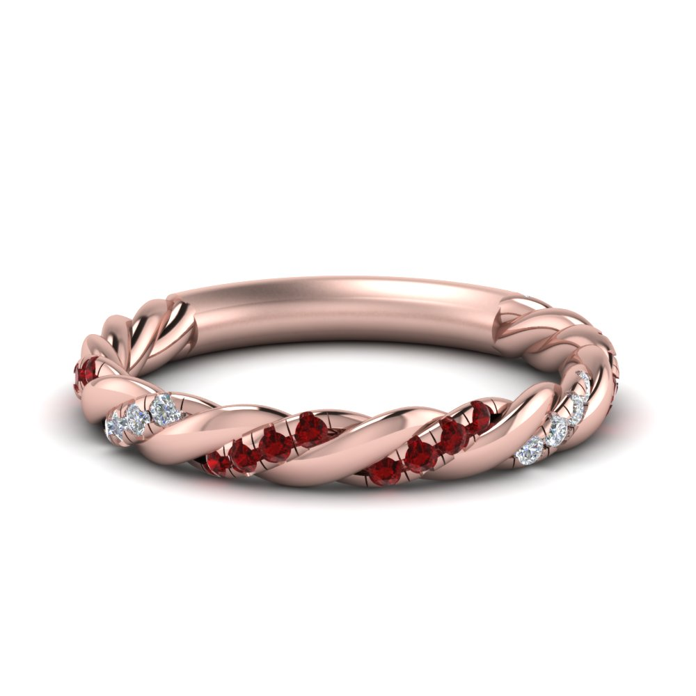 Twisted Diamond Band With Ruby