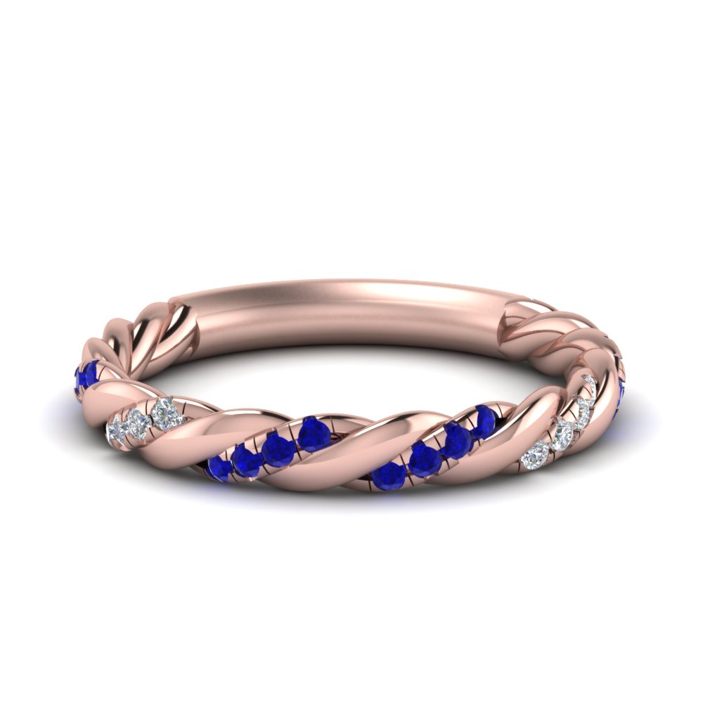 twisted vine diamond wedding band with sapphire in FD9127BGSABL NL RG