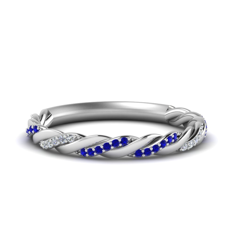 Twisted Vine Sapphire Wedding Band