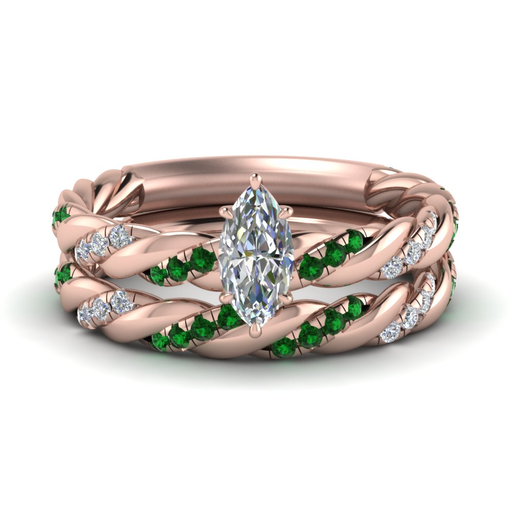 twisted vine marquise diamond bridal ring set with emerald in FD9127MQGEMGR NL RG