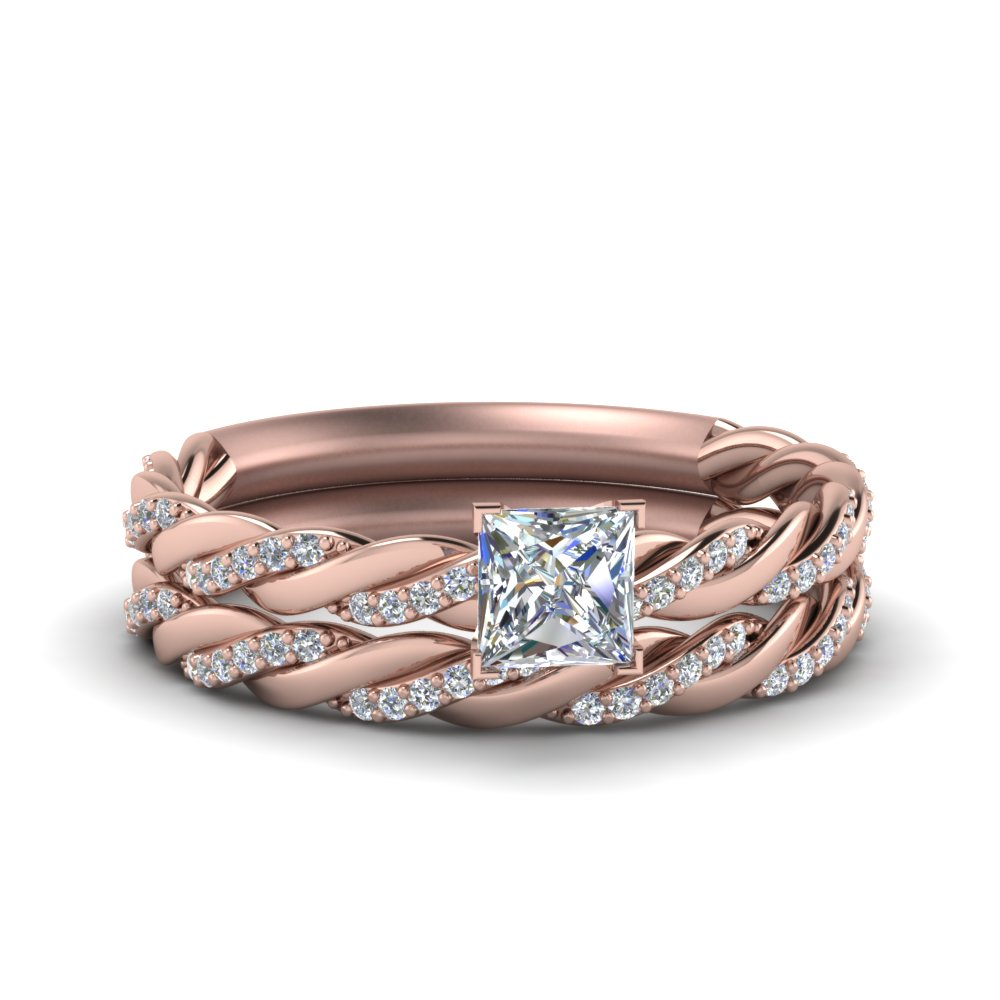 Twisted Vine Princess Cut Diamond Bridal Ring Set In 14K Rose Gold