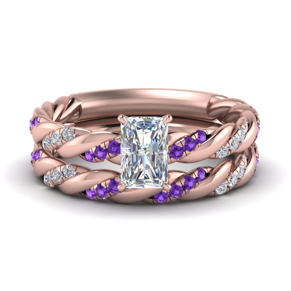 twisted vine radiant diamond bridal ring set with purple topaz in FD9127RAGVITO NL RG