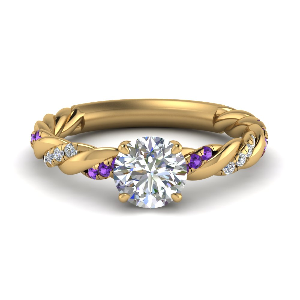 twisted vine round diamond engagement ring for women with purple topaz in FD9127RORGVITO NL YG.jpg