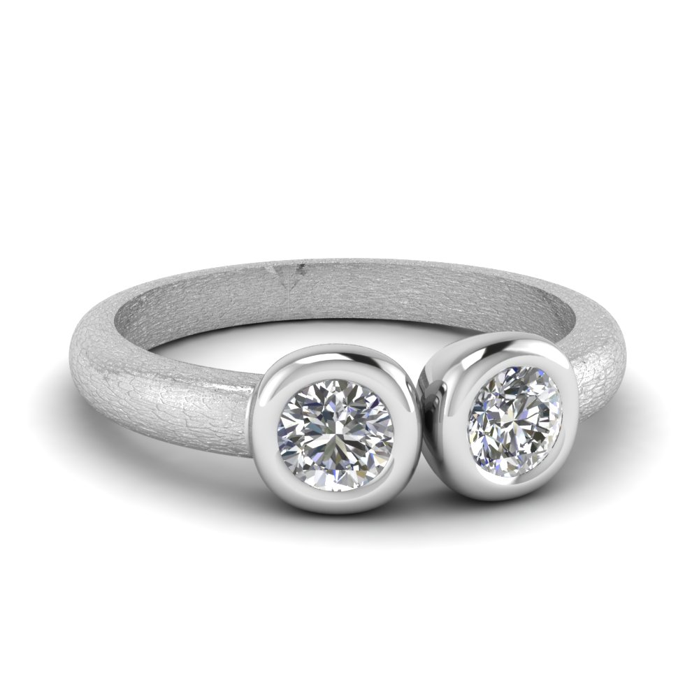 two diamond simple round ring in 14K white gold FD1062ROR NL WG