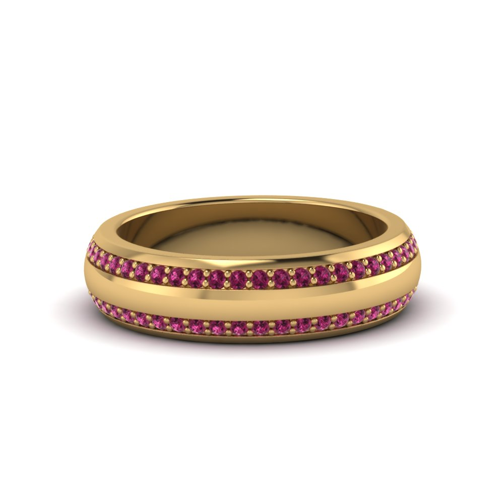 Two Row Pink Sapphire Mens Band