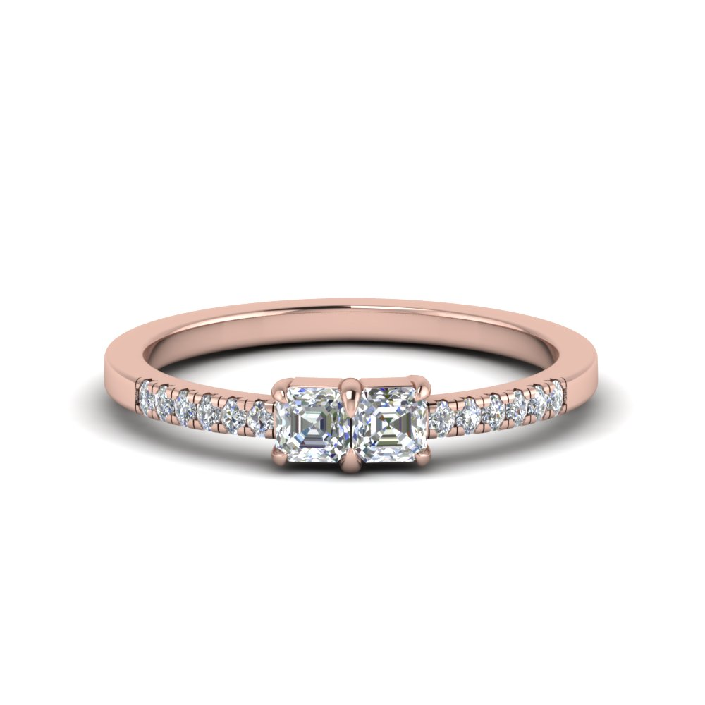 2 Stone French Pave Ring