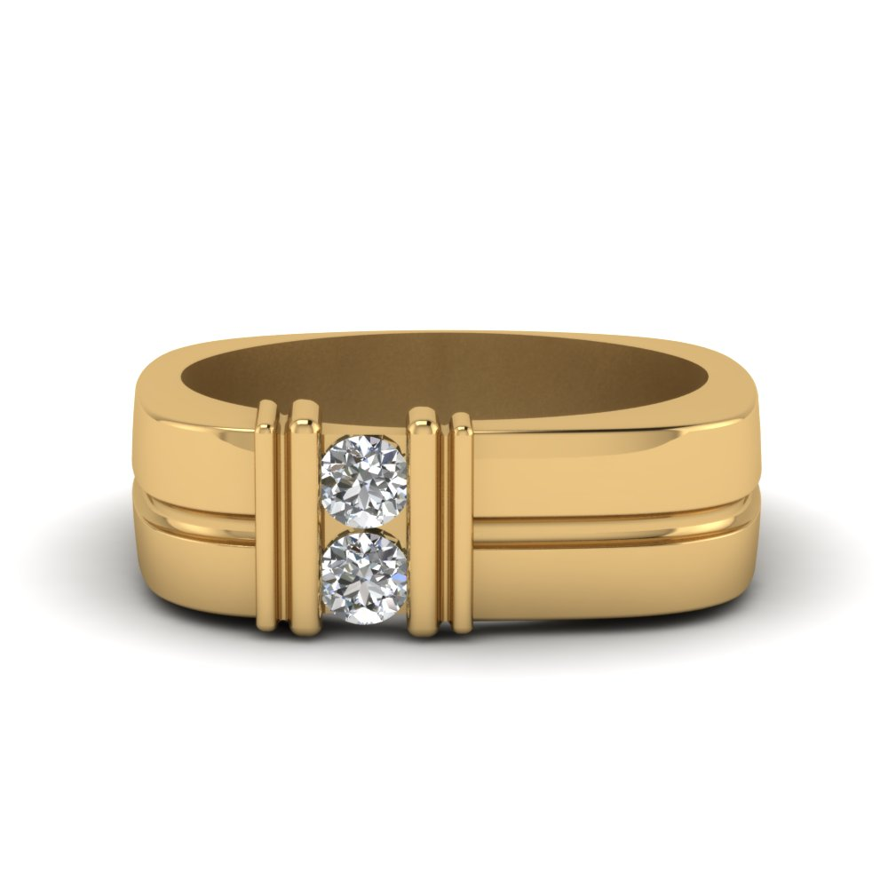 2 Stone Diamond Comfort Fit Band