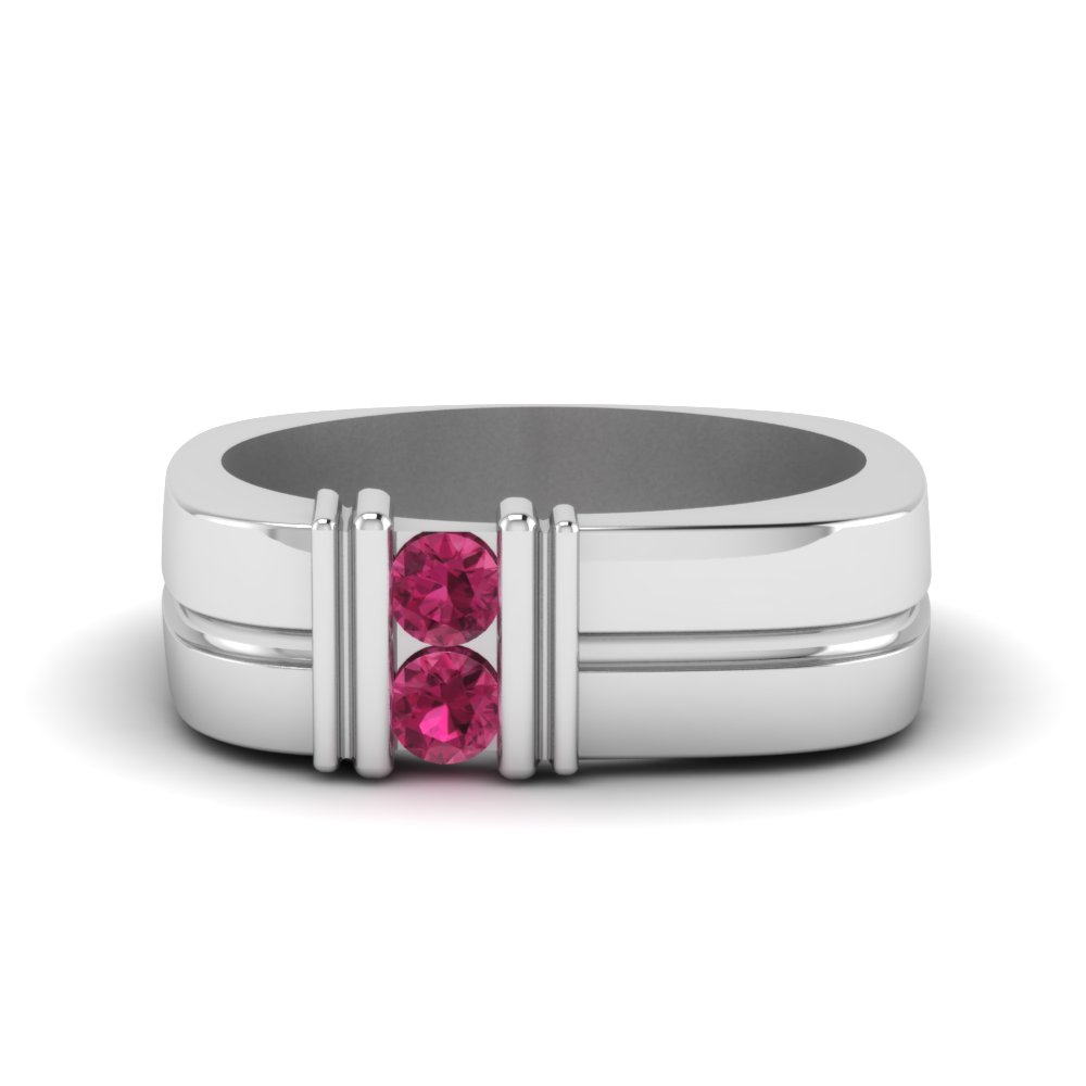 two stone pink sapphire comfort fit band for him in 14K white gold FDMR1163GSADRPI NL WG