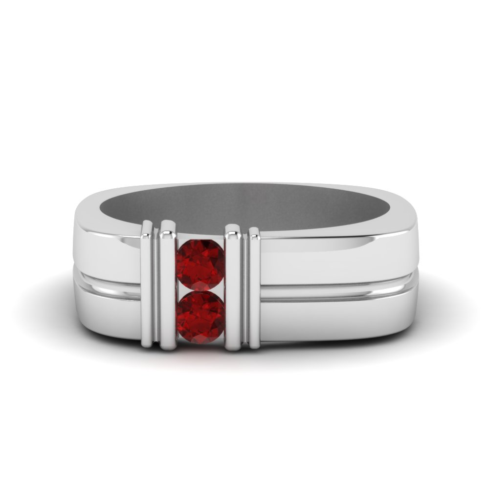 Two Stone Ruby Comfort Fit Band