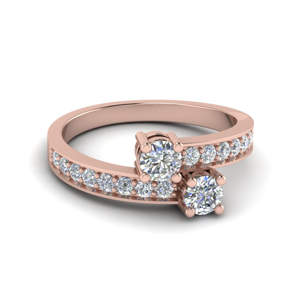 Two Stone Diamond Ring In 14K Rose Gold