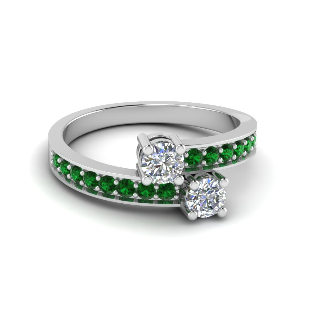 Two Stone Diamond Ring With Emerald