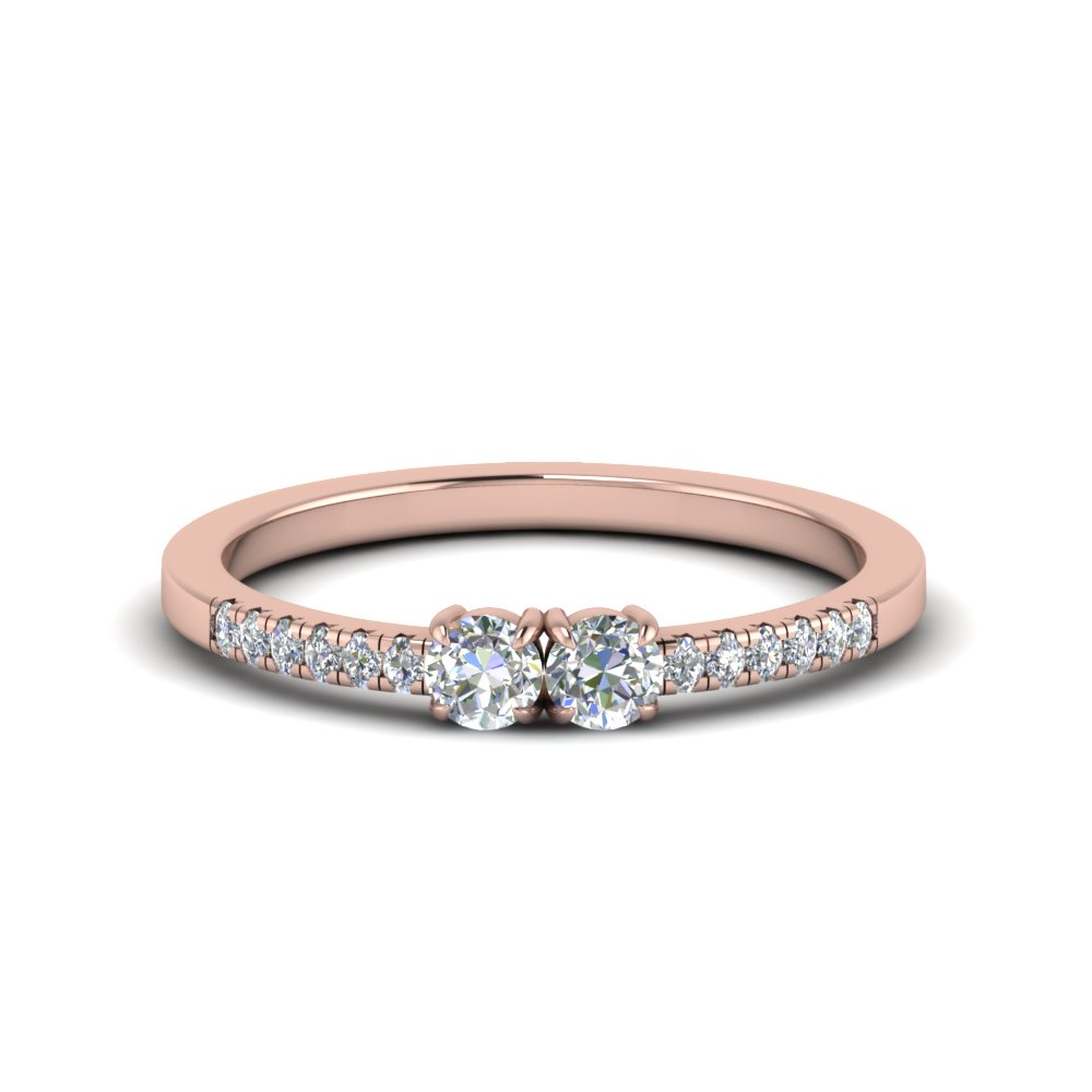 Two Stone Round Diamond Accented Ring In 14K Rose Gold