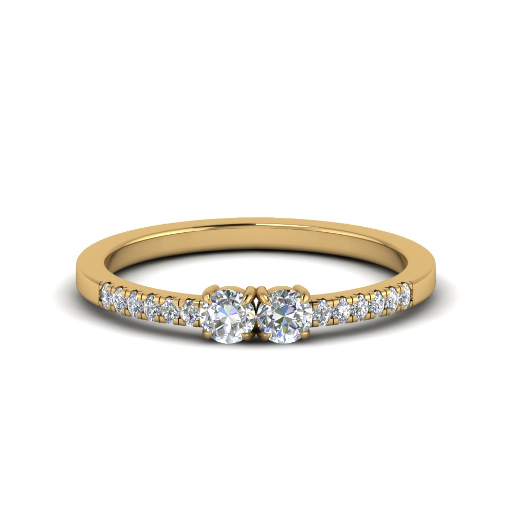 Two Stone Round Diamond Accented Ring In 14K Yellow Gold