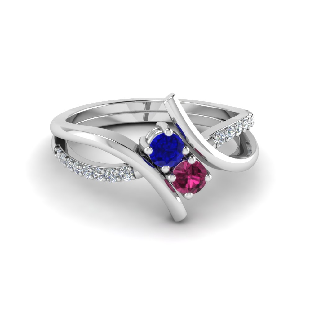 two stone sapphire ring with diamonds in 14K white gold FD652210RORGBSPS NL WG