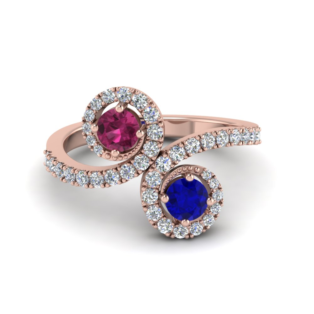 Two Stone Sapphire Swirl Halo Ring Colored Engagement Rings With Blue  Sapphire In 14k Rose Gold