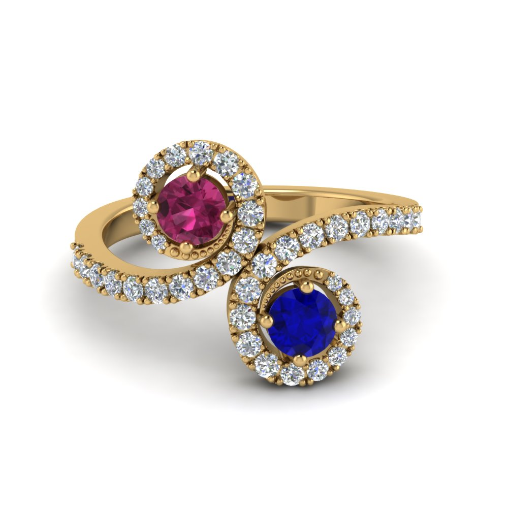 Two Stone Sapphire Swirl Halo Engagement Ring in Yellow Gold