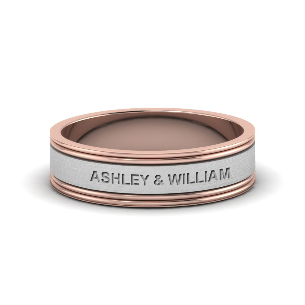 Two Tone Classic Promise Band For Men In 14K Rose Gold