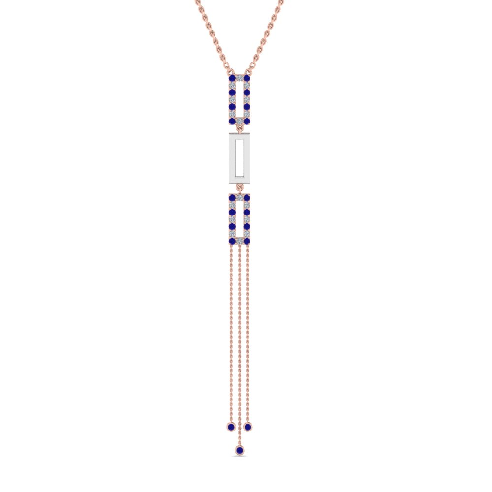 two tone diamond drop necklace with blue sapphire in FDPD8452GSABLANGLE2 NL RG