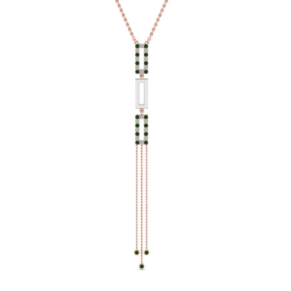 two tone diamond drop necklace with emerald in 14K rose gold FDPD8452GEMGRANGLE2 NL RG