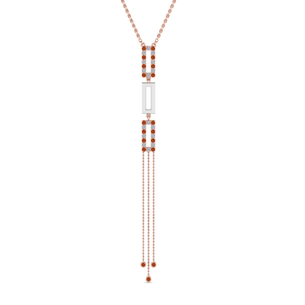 2 Tone Drop Necklace With Orange Sapphire