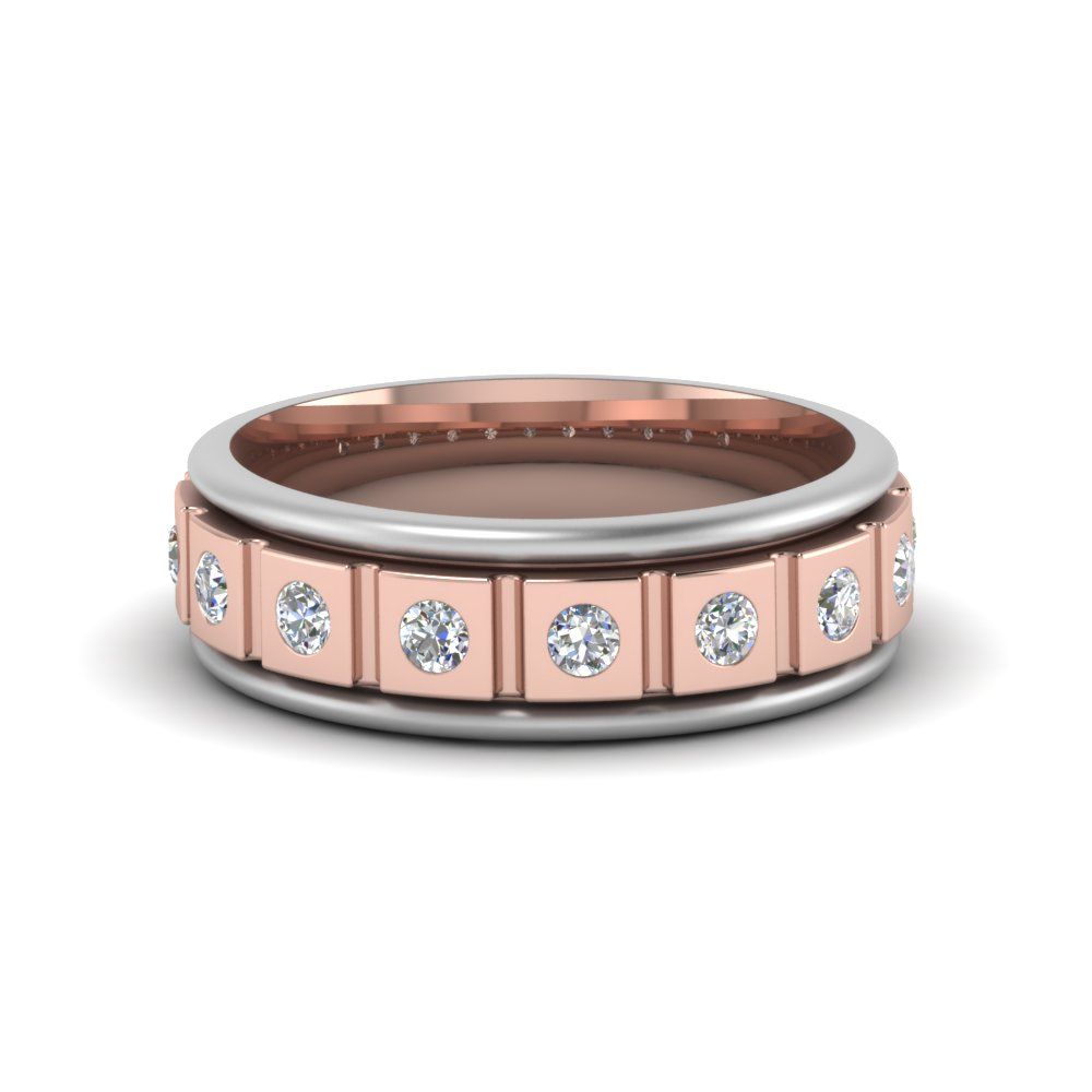 two tone diamond mens band in 18K rose gold FDM8311B NL RG GS