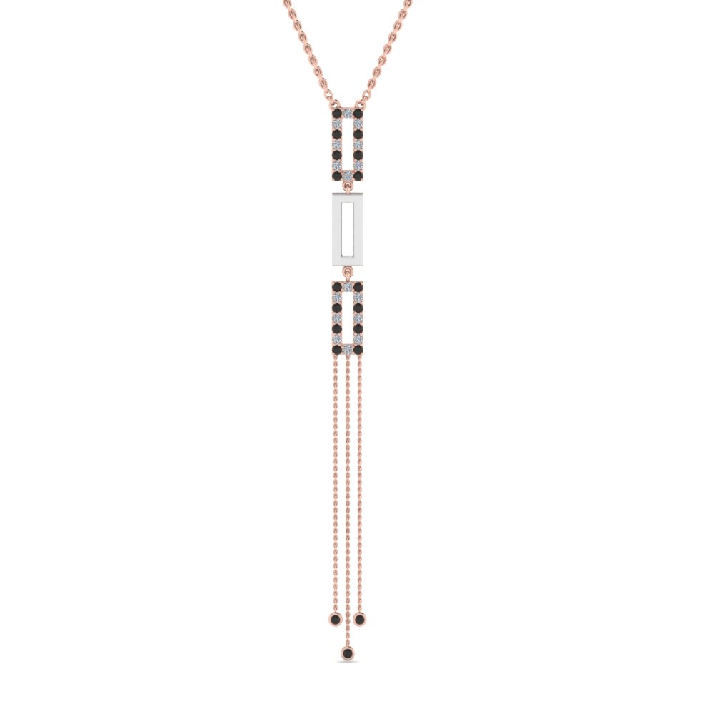 two tone drop necklace with black diamond in 14K rose gold FDPD8452GBLACKANGLE2 NL RG