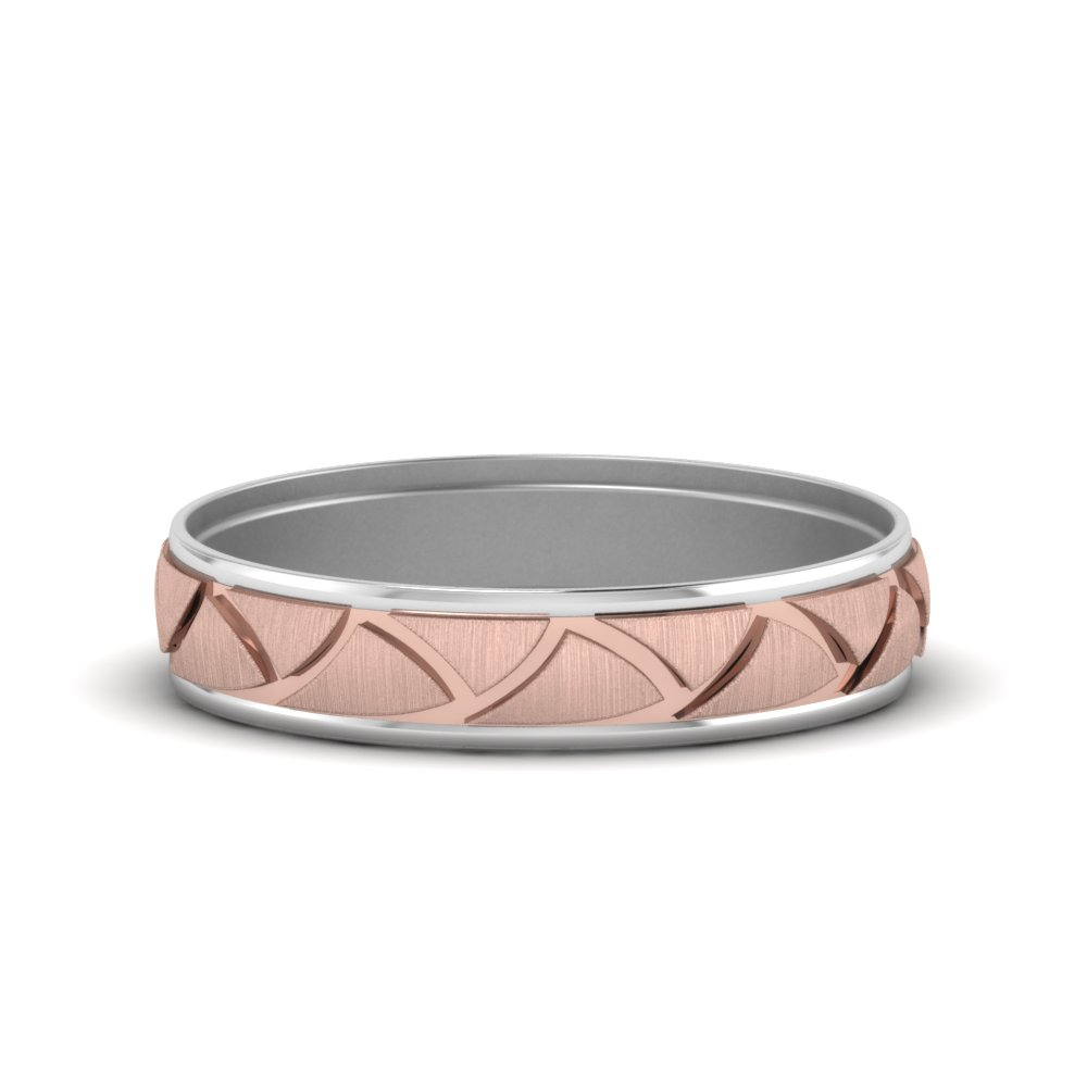 Two Tone Engraved Wedding Band