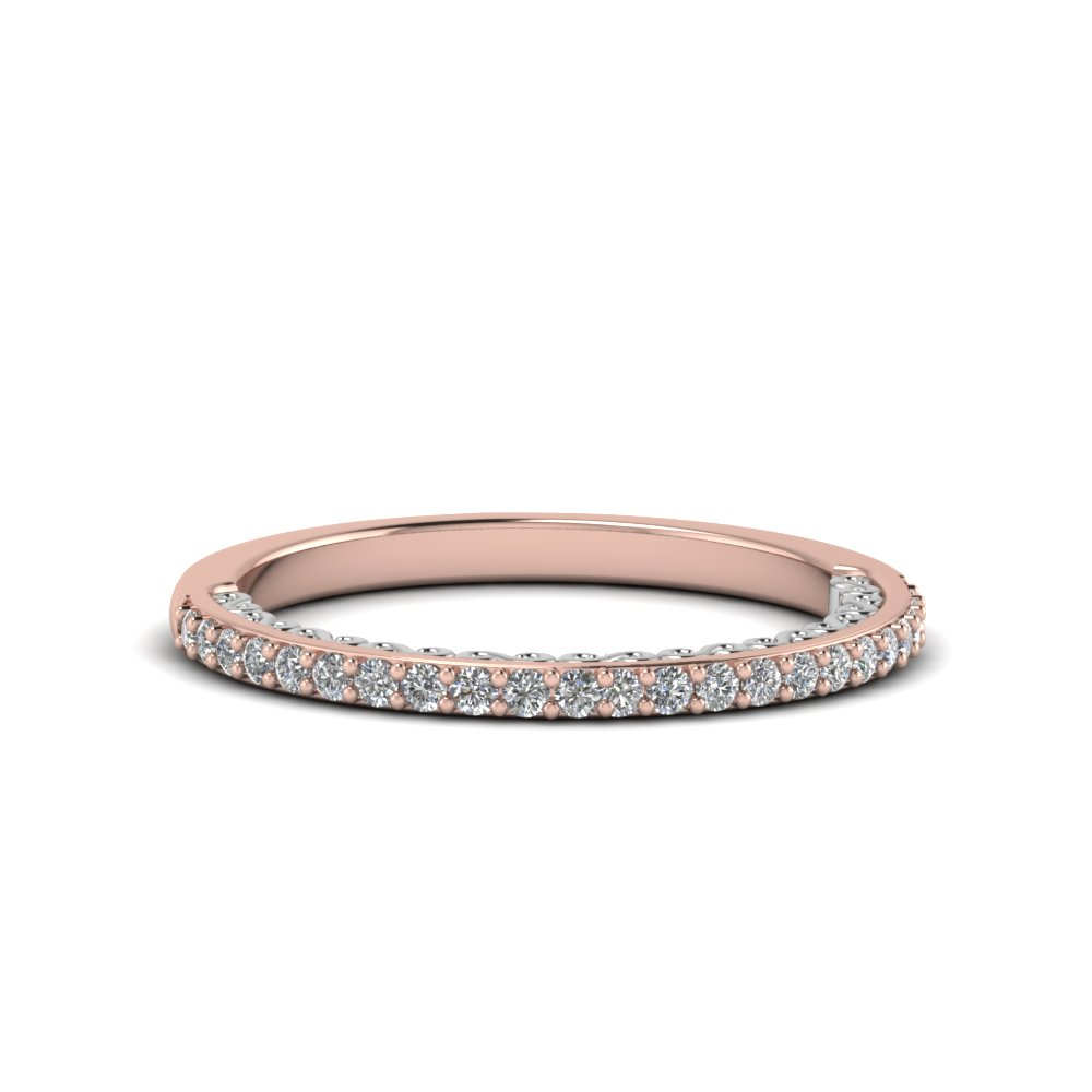 two tone filigree delicate diamond wedding band in 14K rose gold FD122910B NL RG