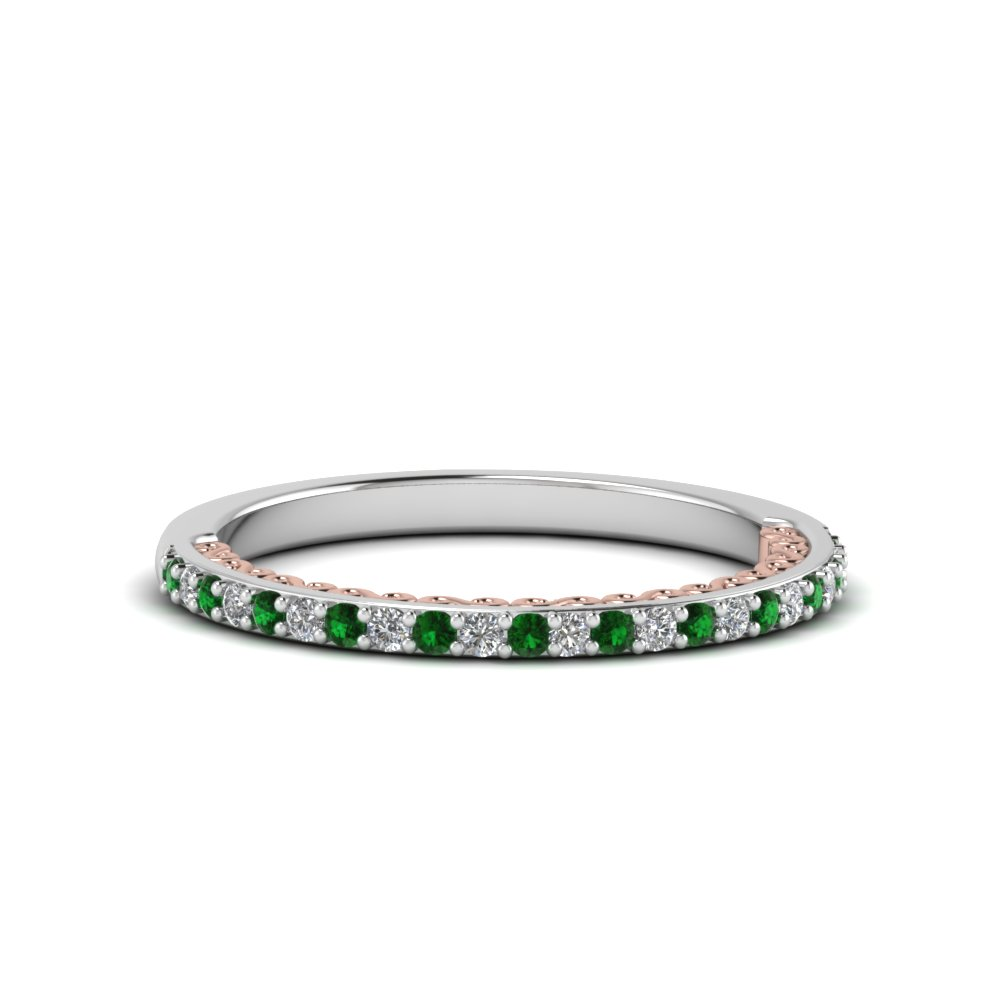 2 Tone Filigree Delicate Emerald Band