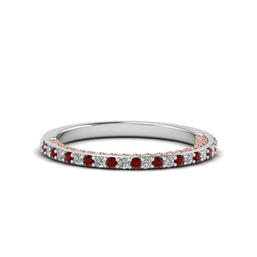 two tone filigree delicate diamond wedding band with ruby in 18k white gold FD122910BGRUDR NL WG