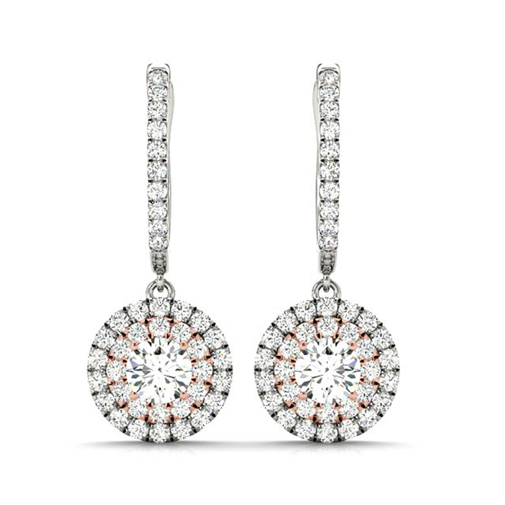 2 tone hoop drop diamond earring in FDOEAR40999ANGLE1 NL RG